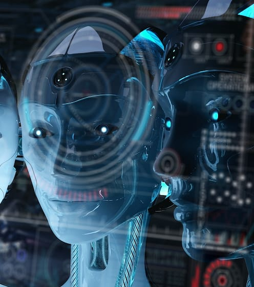 Robot heads doing machine learning and artificial intelligence