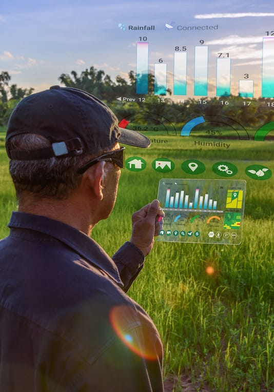 Man using digital agriculture solutions